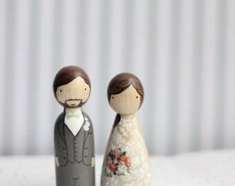 RUSH Cake Topper // Wedding Cake Topper // Peg Dolls // Wooden Cake Toppers // Custom Cake Toppers // Goose Grease // Wooden Dolls