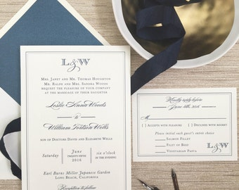 Navy Wedding Invite - Monogram Wedding Invitation - Thermography Wedding Invitation