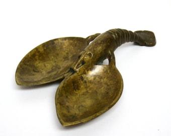 Aged Brass Lobster Trinket Dish