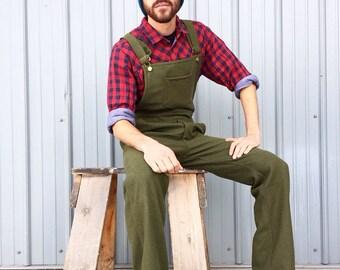 SALE Mens Wool Overalls, mens overalls, Mens Bib Overalls, Bib overalls, Wool Jumpsuit, Wool Jumper, Warm Overalls