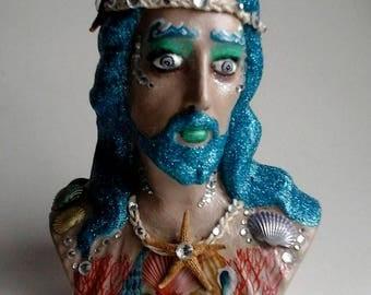 Poseidon the Magical Merman Upcycled Jesus Bust -- Home Decor Mixed Media Art