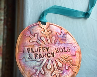 Handmade custom copper snowflake ornament with your names 2016