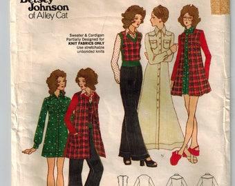 Vintage 70s Betsey Johnson Alley Cat Misses Dress Shirt Cardigan Top & Pants Sewing Pattern Size 10 Wide Leg Pants Mini or Maxi Dress