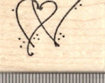 Romantic Hearts Intertwined Rubber Stamp, Wedding or Valentine A21617 Wood Mounted