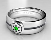 Star Wars Empire Silver Geek Wedding Ring, Silver Wedding Band with Emerald, Size 9 Ring, Size 10 ring, Size 8 ring Mens Emerald Ring
