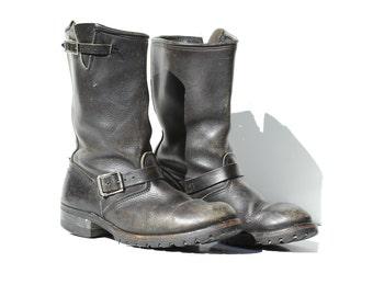 Vintage Carolina Men's Black leather Biker Motorcycle Ring Boots / size 11