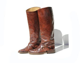 Vintage Italian Mahogany Brown Leather Tall Pull On Boots / size 7.5