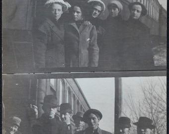 RPPC 1911 Women's Men's Basketball Team Train New Hampton Fayette Iowa IA Postcard