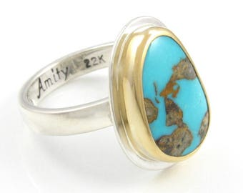 Silver and Gold Turquoise Ring - 22K gold and sterling silver turquoise ring - natural Tyrone Turquoise ring - size 5.75 ring - size 6 ring