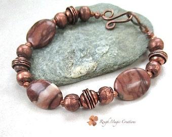 Brown Stone Bracelet, Desert Jasper Gemstone and Copper, Boho Tribal Unisex Gift for Men Gift for Women, Rustic Primitive African Beads N319