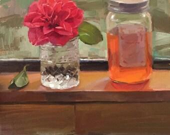 "Art painting still life ""Rogue Valley Honey"" original oil by Sarah Sedwick 12x12"""