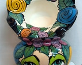 African Violet Planter Impressionistic Face with assorted Roses Motif Hand painted 2 Piece Self Watering on Etsy
