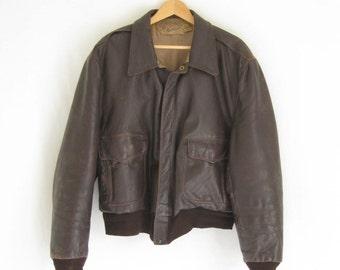 Vintage 40's/ 50's HERCULES  Leather Bomber Jacket. Men's