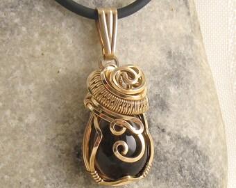 Smoky Quartz Necklace - Smokey Quartz Jewelry - Smokey Quartz Pendant - Smokey Quartz Jewellery - Wire Wrapped - Morion - Gold Filled