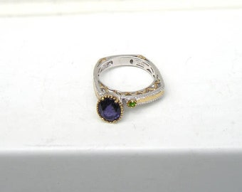 Lovely Michael Valitutti Sterling Silver Amethyst Ornate Gold Accent Ring NH 925