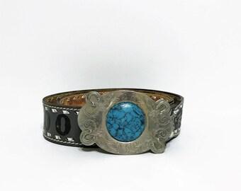 WESTERN tooled BELT. Tooled belt with turquoise Buckle. leather belt. tooled belt. monogram belt