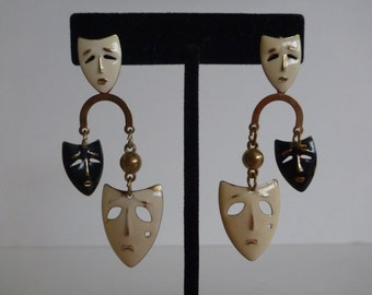 Tragedy and comedy mask earrings. mardi gras earrings. theater earrings. black and white enamel earrings