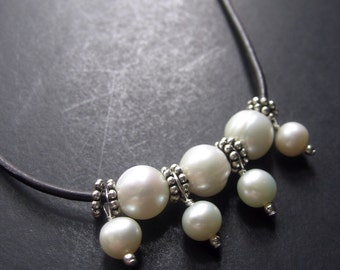 Pearl Necklace, Pearl Leather Necklace, Pearl Sterling Silver Necklace