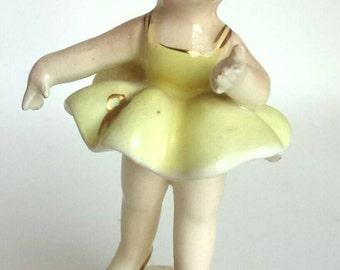 Vintage Porcelain Ballerina Figurine Gold Accents