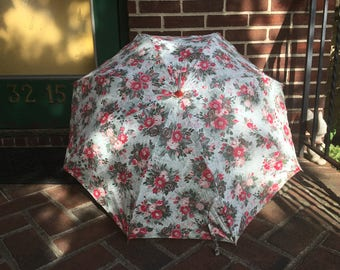 1940's Skinny Vinyl Parasol Red Pink White Floral FLowers Red Handle Unused New Old Stock