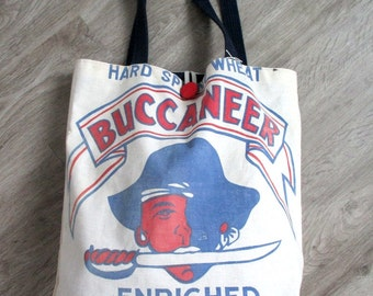 Pirate Tote Bag from Recycled Buccaneer Flour Sack OOAK by The Bent Tree Gallery