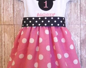 Minnie Mouse Disney Birthday Dress Custom Size 12m 24m 2T 3T 4T 5T 6/6X 7/8