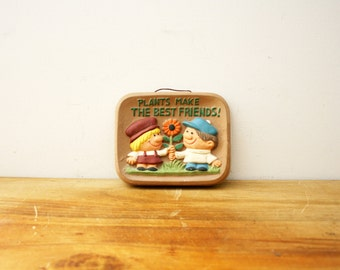 vintage 70s Plants Make The Best Friends Sunflower Friendship Made in Japan Wall Hanging