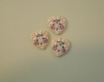 Light Pink Heart Button set of 3