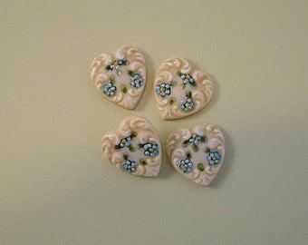 Blue Heart Button set of 4