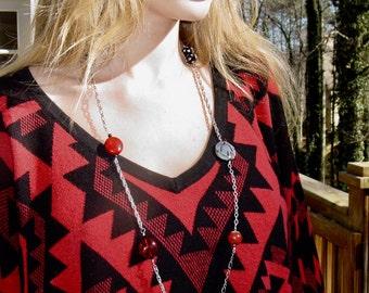 Red & Black Multi-Chain Necklace