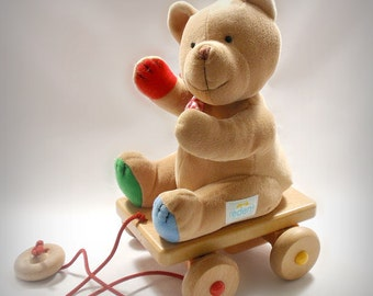 Vintage Teddy Bear Pull Toy Eden Learning Curve Nursery Plays When Pulled Baby Decor