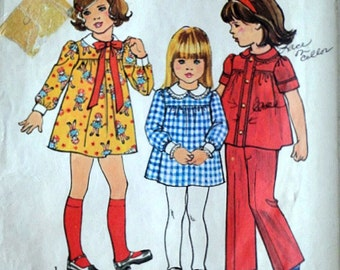 Vintage 70's Simplicity 7063 Sewing Pattern, Girls' Dress or Top and Pants, Size 5, 24 Breast, Retro 1970's Fashion