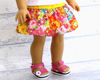 18 inch Doll Clothes Bright Flower Skirt, Doll Twirl Skirt, Summer Doll Clothes