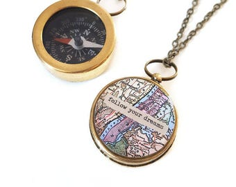 Small Compass Necklace, Follow Your Dreams, or Personalized Quote, Vintage NYC Map, Manhattan, Working Compass, Graduation, Inspirational