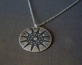 Compass rose pendant / sterling silver pendant / mandala jewelry / etched silver / meditation jewelry / bohemian jewelry / sacred geometry