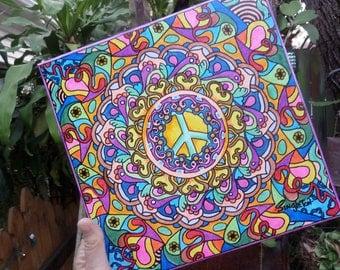 Peace art, singleton hippie art, hippie art, peace mandala, hippie mandala, canvas mandala, hippie peace, hippie wall art, hippie decor