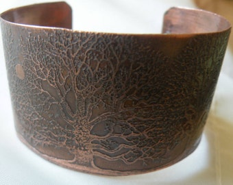 Copper cuff bracelet  - tree of life - moon in trees - acid etched - mothers day