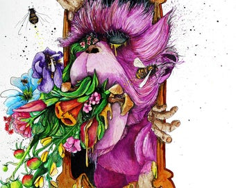 """Monkey Art - Monkey Painting - Botanical Art Print - Surreal Animal Art -  """"Spring Cleaning"""" by Far Out Arts"""