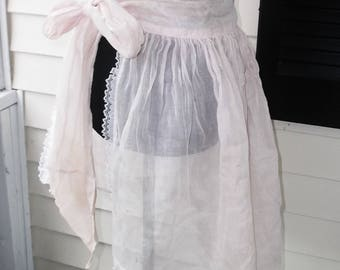 1950s Vintage Pink Organdy Half Apron with Lace