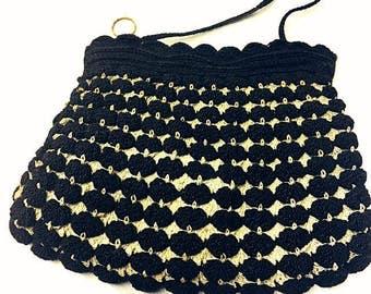 Vintage 1940s Crochet Purse 40s Two-Tone Handbag Gimp Crochet Black Beige Hand Crocheted Pocketbook 1940s fashion War Years WWII Era