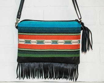 black fringe bag, fringe purse, black leather purse, sling bag, navajo, upcycled, black clutch, tassel, handmade, boho, small purse, mini