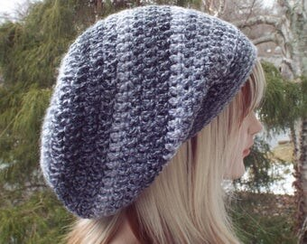 Striped Gray Slouchy Beanie, Womens Crochet Hat, Boho Slouchy Hat, Oversized Slouch Beanie, Hipster Hat, Slouch Hat, Baggy Beanie