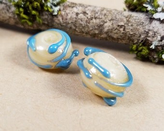 2 lampwork beads 1 pair Ivory Wrapped with Powder Blue Hand made Artisan Lamp work Glass Torch Funky Whimsical