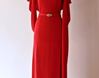 Vintage 1960's Red Sparkle Knit Evening Gown With Matching Shawl ~ Vintage 60s Howard Lawrence RED HOT Metallic Knit Dress