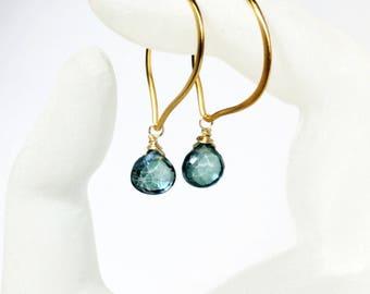 Mystic Green Quartz Briolette Hoop Earrings in Gold, Medium or Large