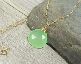 "Seafoam Green Chalcedony Gemstone Elegant Necklace, 20"", Gold Fill"