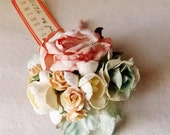 Peach cream Green Tea Rose Mixed bunch Vintage style Millinery Flower spray floral Bouquet