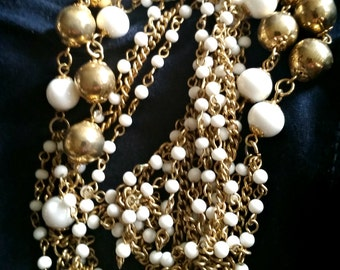 1960s White Gold Chain Necklace long fashion vintage costume jewelry flapper revival
