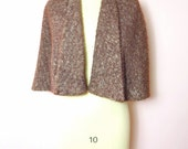 1950s Brown Boucle Wool Wrap Capelet Fits Most