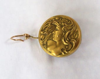 c1903 Art Nouveau Woman Retractable PIN- For Monocle Eye Glasses,Pencil Or Other Small Utilitarian Item- Ketcham McDougall